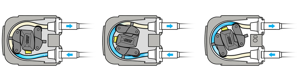 Graphical demonstration of how a peristaltic pump works